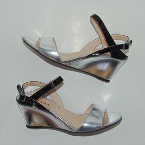 PRADA Silver & Black Wedge Sandals 40/9